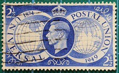 Sello Reino Unido 1949 aniversario UPU