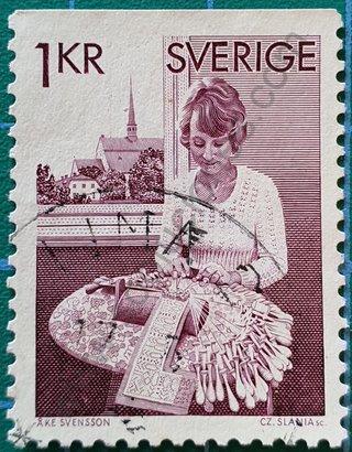 Sello Suecia 1976 Encaje de bolillos