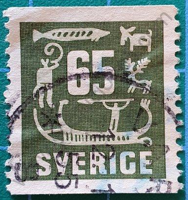 Sello Suecia 1954 tallas de roca 65 Öre