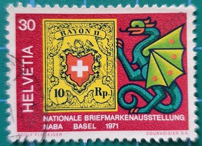 Sello Suiza 1971 Exposición Nacional de sellos