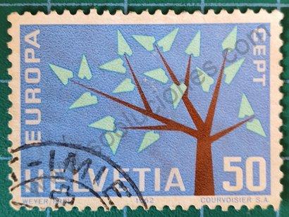 Sello Suiza 1962 Árbol estilizado 50 Ct.