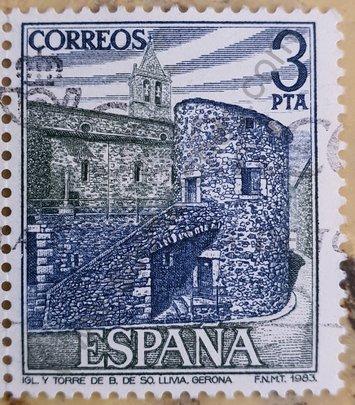 Sello España 1983 Iglesia y Torre de LLivia