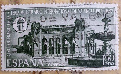 Sello España 1967 Feria de Valencia 50 aniversario