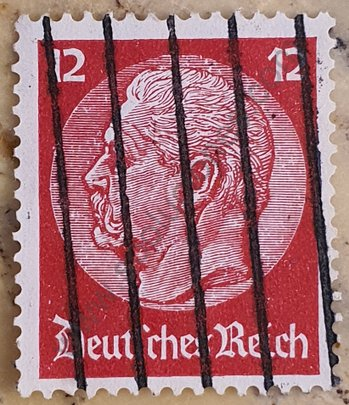 Sello Alemania 1934 Hindenburg 12 Reichspfennig