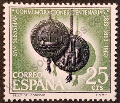 Sello España 1963 San Sebastián - 150 años