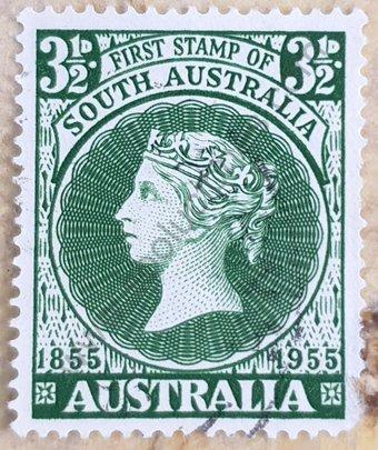 Sello Centenario 1er. sello del sur de Australia 1955