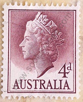 Sello Australia 1957 valor facial 4d - Isabel II