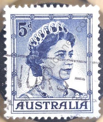 Sello Australia 1959 Reina Elizabeth II 5d
