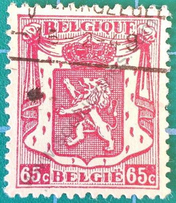 Sello Bélgica 1945 Escudo de Armas 65c