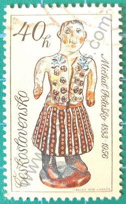 Sello Checoslovaquia 1978 Mujer en traje folklórico