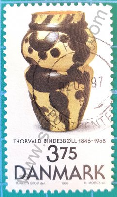 Sello florero de Bindesboll - Dinamarca 1996