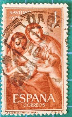 Sello España 1959 Navidad Sagrada familia