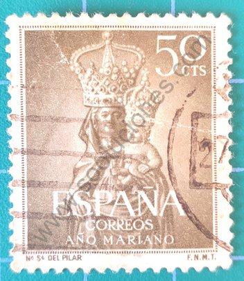 Sello España 1954 Virgen del Pilar - Zaragoza
