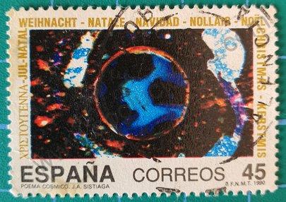 """Sello Poema cósmico """"Luna"""" - España 1990"""