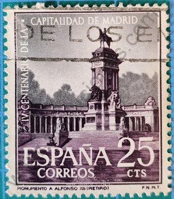 Sello Monumento Alfonso XII Madrid - España 1961