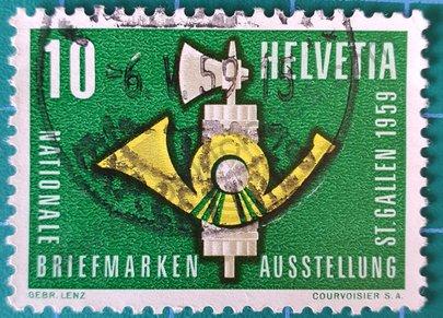 Sello Suiza 1959 Cuerno de correos 10 ct