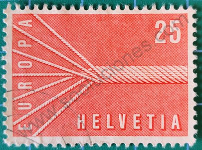 Sello Suiza 1957 Cable siete hilos 25 Ct