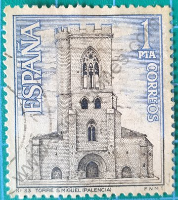 Sello Torre de Iglesia de San Miguel - España 1967