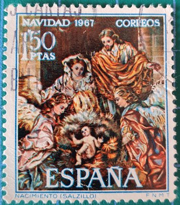 Sello Navidad 1967 España - pintura de Salzillo