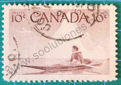 Sello Canadá 1955 Esquimal y Kayak