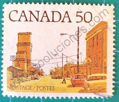 Sello Canadá 1978 Calle principal ciudad