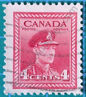 Sello George VI - Canadá 1943 valor 4 ¢