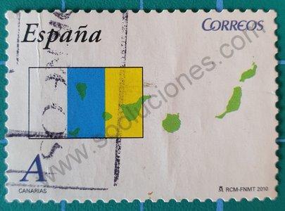 Sello Islas Canarias mapa y bandera - España 2010