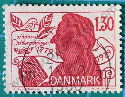 Sello Adam Oehlenschlänger poeta - Dinamarca 1979