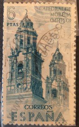Sello Catedral de Morelia - España 1970