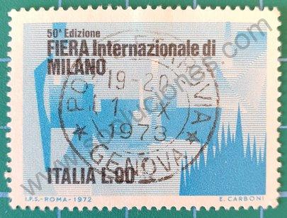 Sello Italia 1972 Feria Internacional de Milan 90 L