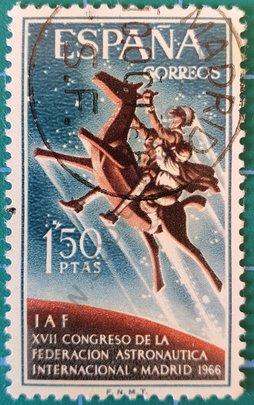 Sello XVII Congreso Federación Astronáutica - España 1966