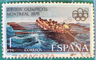 Sello España Remo Juegos Olímpicos 1976 Montreal