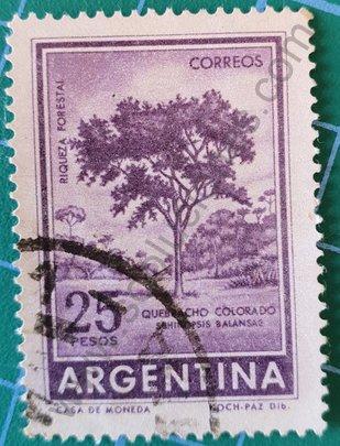 Sello Quebracho colorado 25 pesos - Argentina 1967