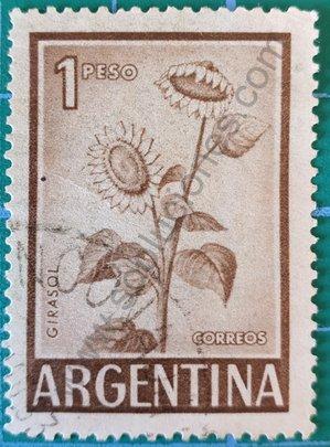 Sello Argentina 1969 Girasol 1 peso