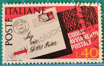 Sello Introducción código postal - Italia 1967 40L
