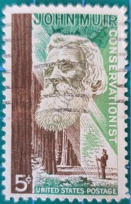 Sello John Muir naturalista estadounidense 1964
