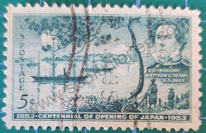 Sello Matthew Perry y Bahía Tokio - USA 1953