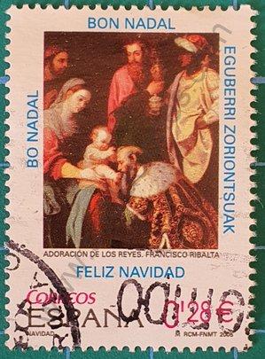 Adoración de los reyes - Pintor Ribalta - Sello España 2005