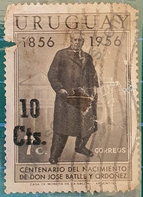 Jose Batlle y Ordoñez sello Uruguay 1957