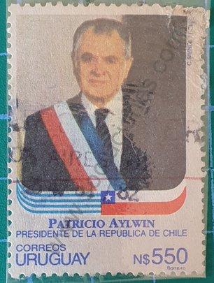 Patricio Aylwin visita a Uruguay - sello de 1992