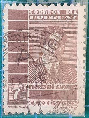 Florencio Sanchez 7 Centésimos - Sello Uruguay 1935