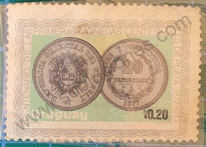 Primeras monedas 20 centesimos - Sello Uruguay 1979