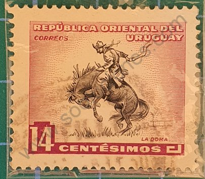 Gaucho domando potro - Sello Uruguay 1954 14c