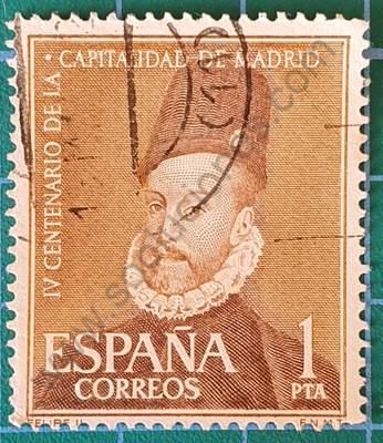 Retrato de Felipe II - 1 Pta - Sello España 1961