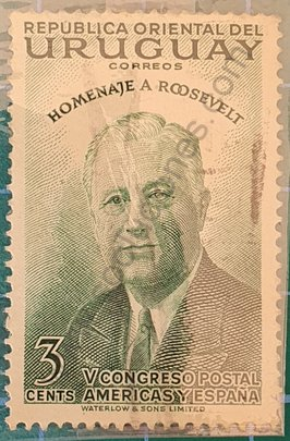 Franklin Delano Roosevelt 3 cents - sello Uruguay 1953