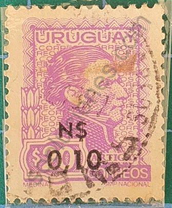 General Artigas sello de Uruguay 1975 N$ 0,10