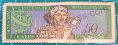 Nicolás Copérnico 500 cumpleaños - Sello Uruguay 1973