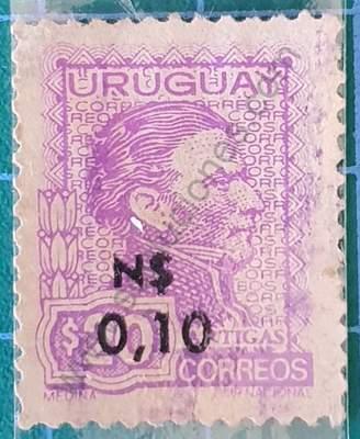 Artigas Sello con remarcado grueso N$ 0,10 Uruguay 1975