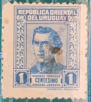 Sello Artigas 1940 1c azul suave - Uruguay