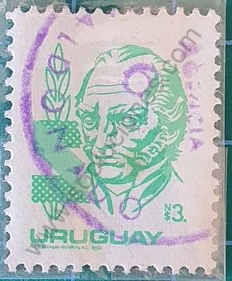 Sello N$3 Artigas - Uruguay 1980